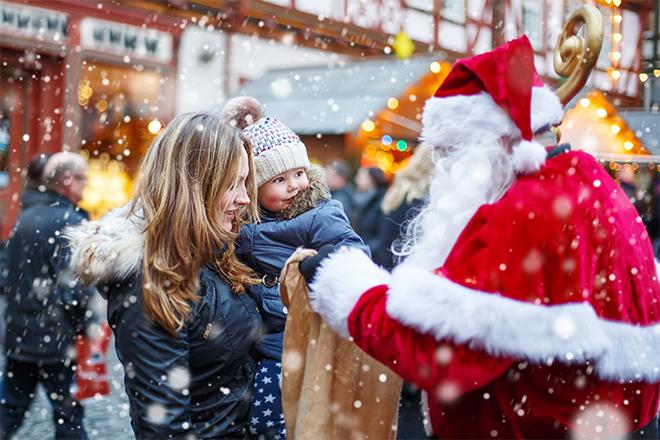 Papá Noel, mercado navideño