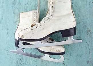 Skating on a wintry ice rink
