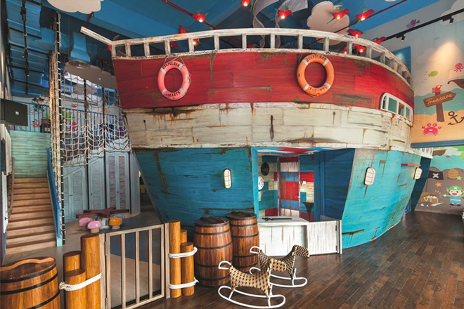 Kids club bali: pirate ship at Meera Kids' Club Movenpick Resort Jimbaran Bali