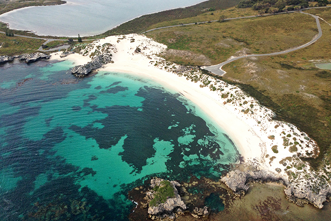 Aerial shot of Rottnest Island beach
