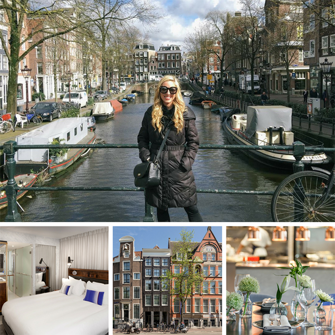 Competition winner Chloe with long blonde hair, wearing a black jacket standing on a bridge in Amsterdam with a river and boats behind her, and side streets and tall buildings on the river bank