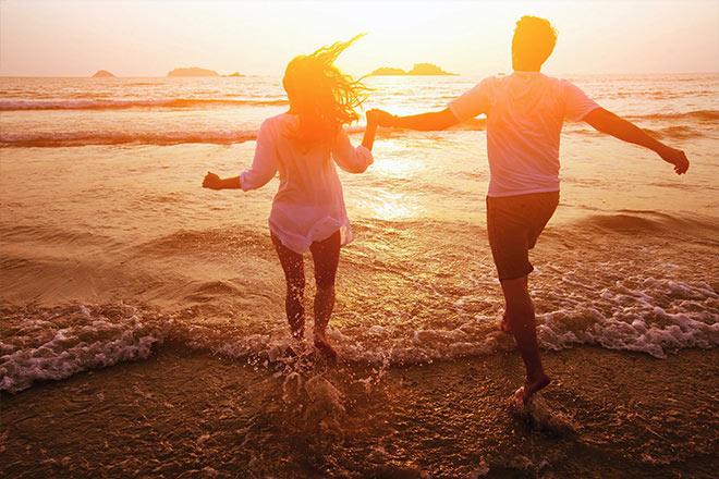 bali deserted beach romantic evening