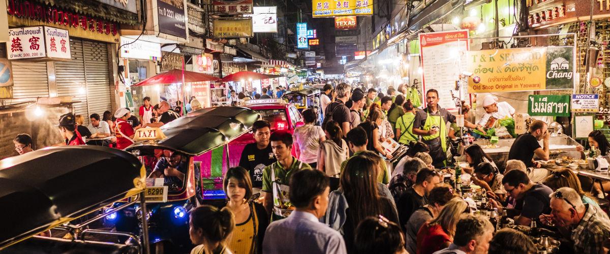 bangkok shopping street and local food at night