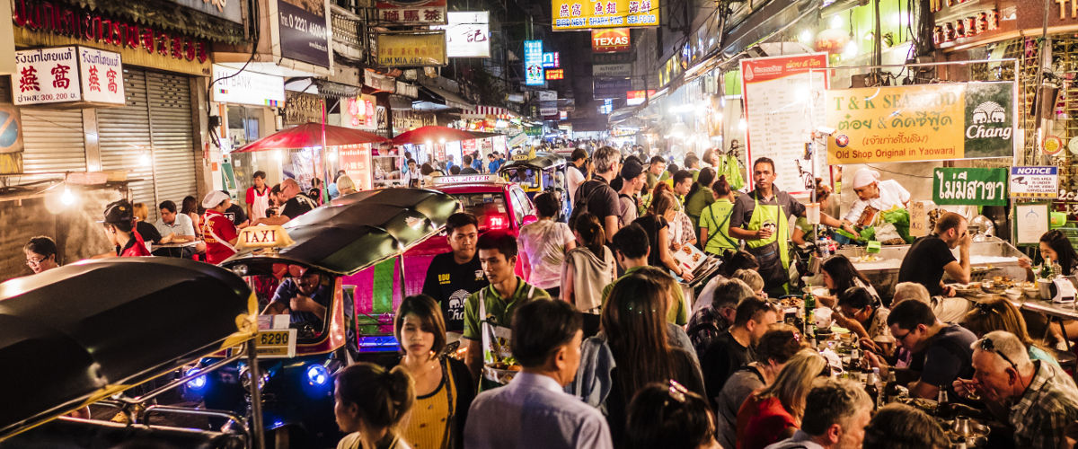 bangkok shopping street and local food at night