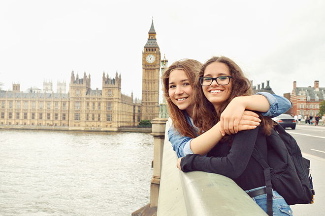 teenagers in front of big ben