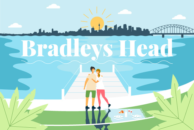 Illustration of couple hugging as they enjoying a picnic at Bradleys Head Amphitheatre