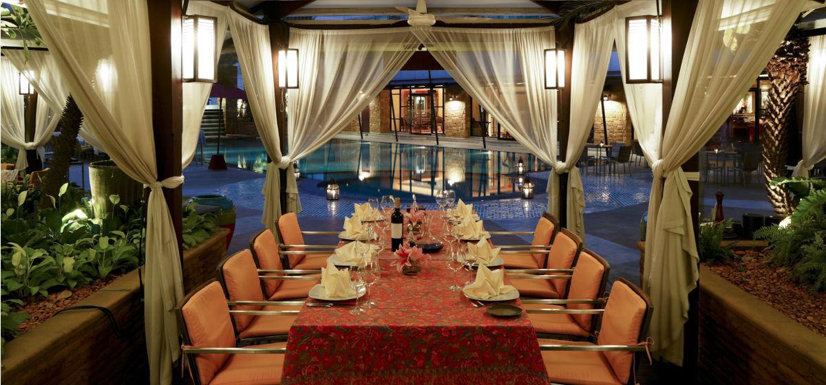 charoenkrung road restaurant with pool view, bangkok