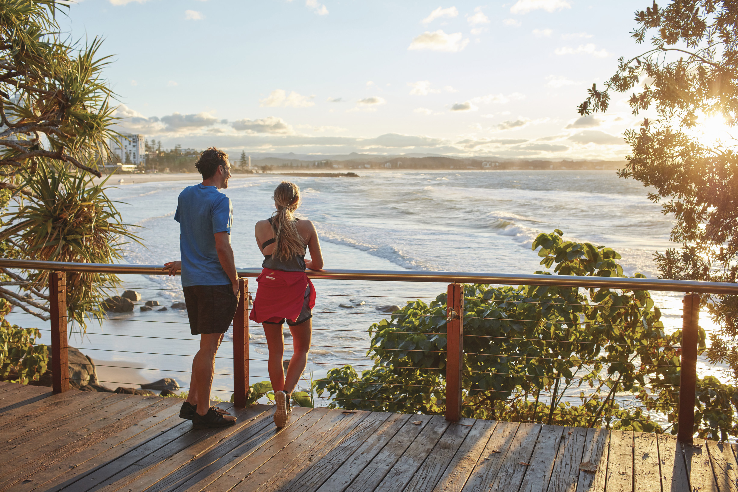 couple looking at sunset in Coolangatta