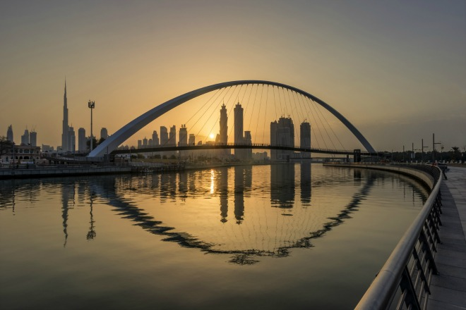Espectacular puesta de sol de Dubai