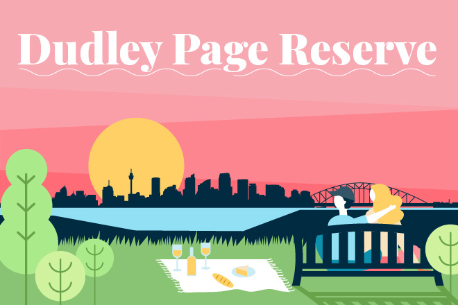 Illustration of couple enjoying a sunset picnic at Dudley Page Reserve looking on the Sydney skyline and bridge