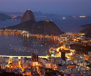 Enjoying the view of the city lights in Rio de Janeiro