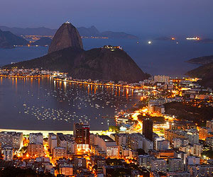 Enjoying the view of the city lights in Rio de Janeiro