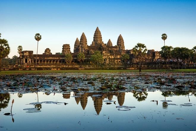 Angkor Wat Blue Skies with Moon