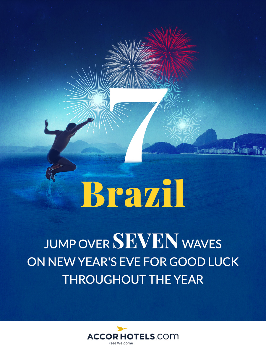 In Brazil, they jump over seven waves to ring in the new year