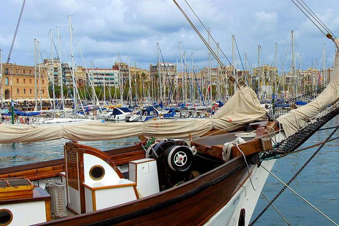 Goélette port barcelone