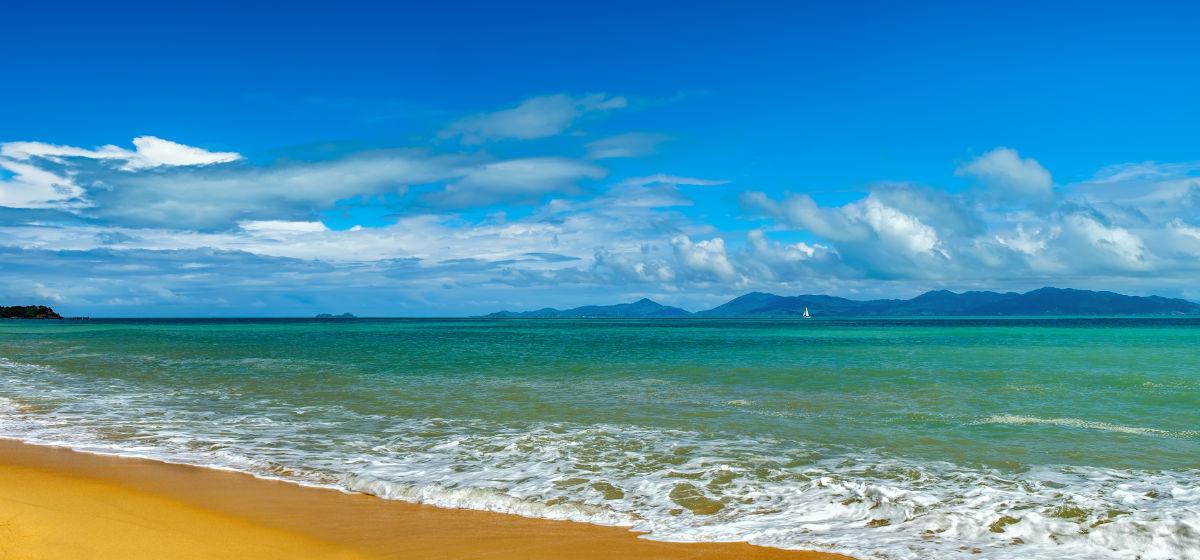 Ko Samui sea with blue sky and clouds