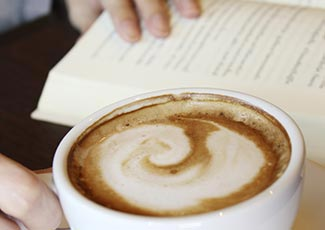 Reading a book somewhere special