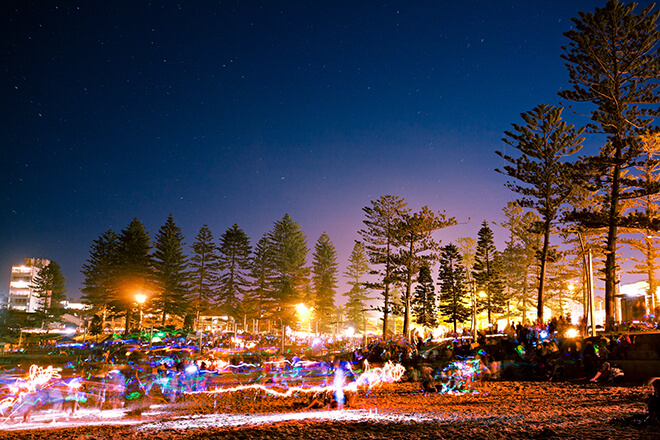 Manly Cove foreshore at NYE