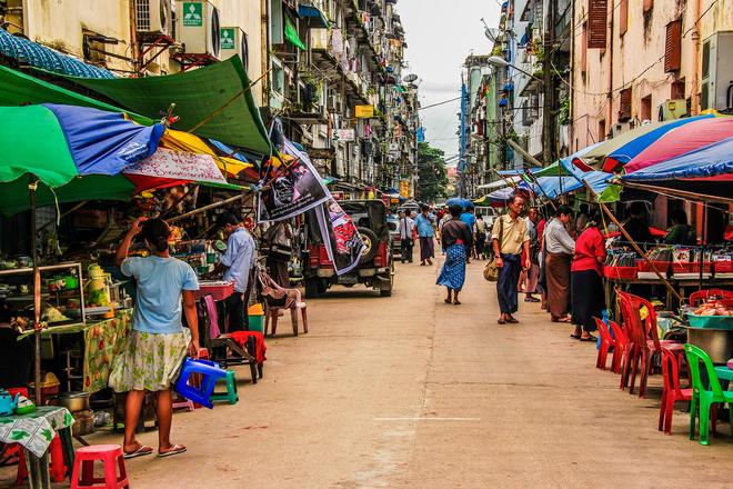 market in myanmar