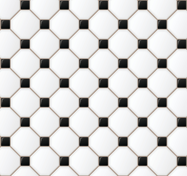 Padronagem de azulejos preto e branco