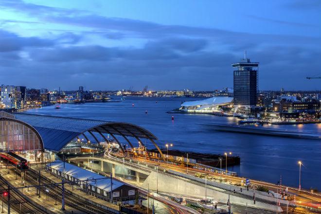 Uitzicht op Amsterdam noord Toren en EYE