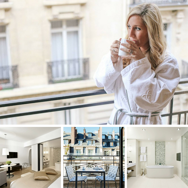 Competition winner Chloe with long blonde hair and wearing a white dressing gown drinking a cup of coffee on her hotel balcony in Paris