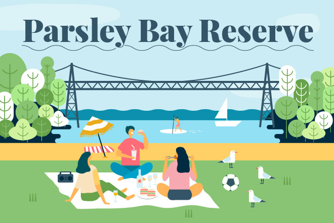 Illustration of friends enjoying a picnic on the grass in front of Parsley Bay and the iconic Parsley Bay foot bridge.