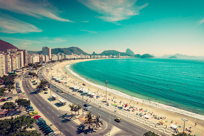 Vista aérea de Copacabana, no Rio de Janeiro