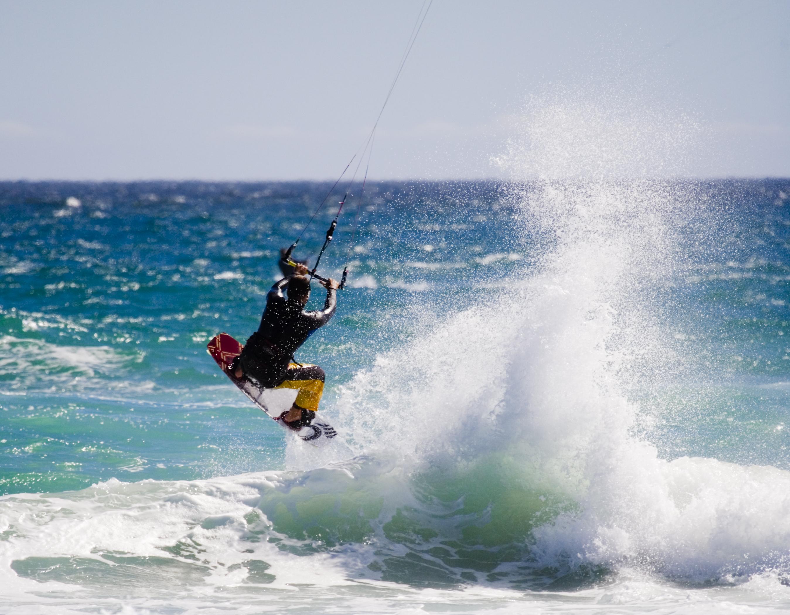 kite surfer taking off
