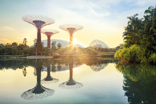 Singapore Gardens By The Bay at sunset