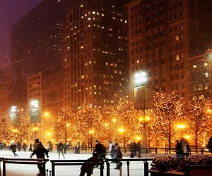 Skating on a wintry ice rink in Chicago