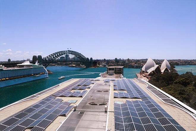Solar panels on the Pullman Quay Grand roof