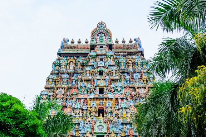 La exaltación de los colores del templo de Sri Ranganathaswamy
