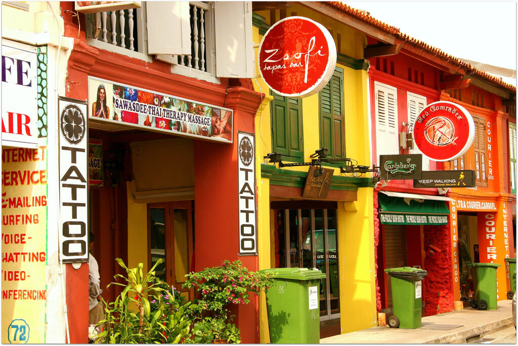 The colorful storefronts of Little India. Source: Carrie Kellenberger