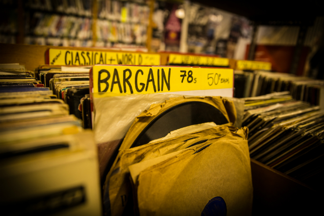 Second hand vinyl records in a store