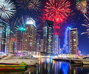 Watching a firework display in Dubai